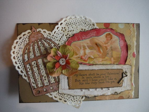 Vintage style valentine. Shabby layered handmade love greeting card, doily, birdcage, flower, key, button, faux pearls OOAK