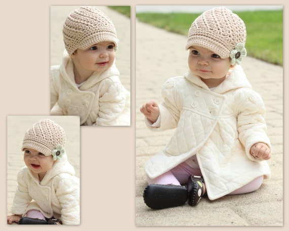 Interchangeable Flower Baby Crochet Hat Newsboy Style COLOR