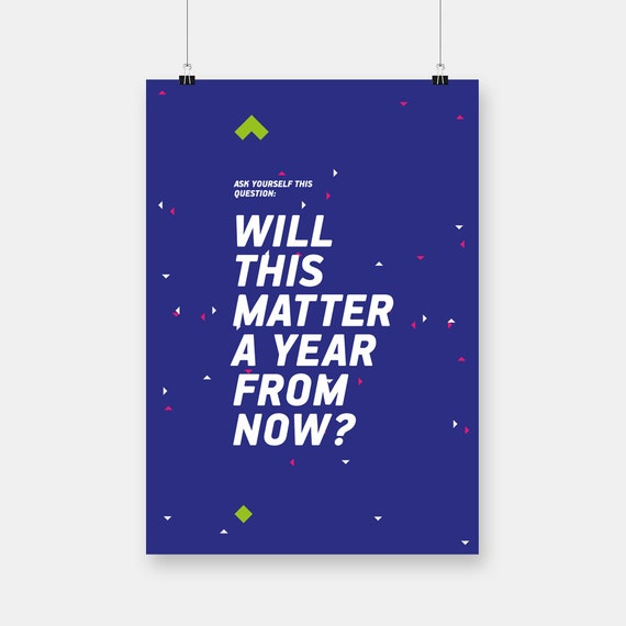 Typography poster, 35cm x 50cm, will this matter, paper goods, quote posters, housewarming giftsm wall art decor, story telling, blue print