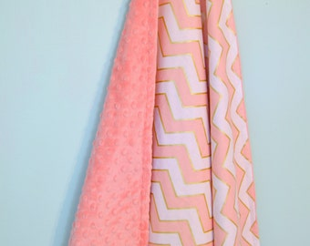 Gold Pink Chevron Baby Blanket - Perfect Carset/Stroller/Pack-n-Play Size