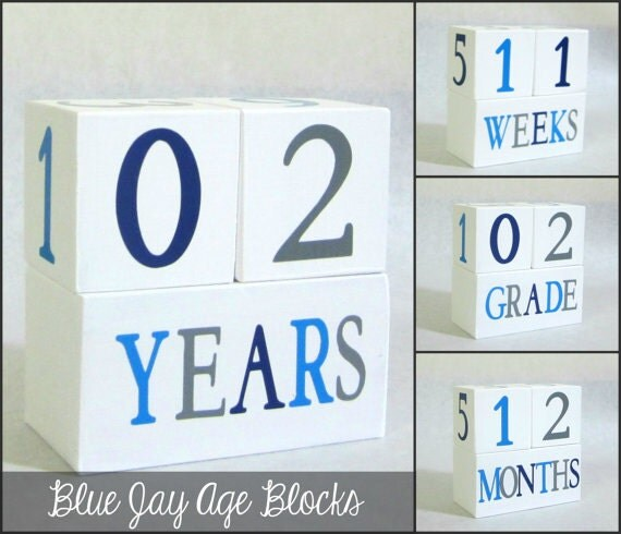 Boy Wooden Baby Age Blocks - Photo Prop - Weeks, Months, Years and Grade