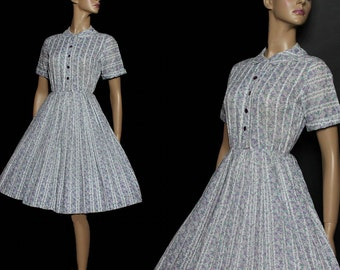 Vintage 1950s Dress Retro Rockabilly Garden Party Mad Man Couture Pinup Bombshell Femme Fatale Full Circle