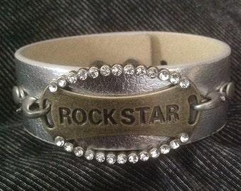 Leather Cuff Bracelet - Rock Star Cuff Bracelet - Rock Concert Bracelet - Silver and Brass Bracelet