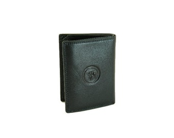 Mens Leather Wallet Extra Small Trifold Elegant Black And Brown Genuine (6225)