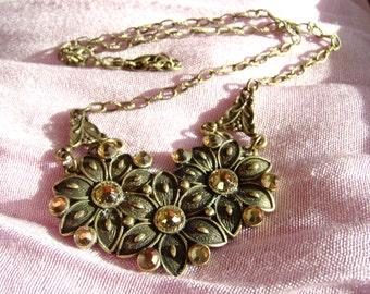 Flower Necklace, Antique Gold, Trio