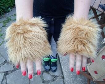 One Luxury Pair of Caramel Furry Wrist Cuffs Wristlets Cute Cosy Cosplay Elasticated Winter
