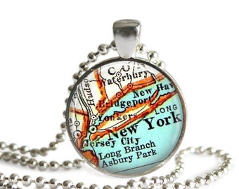 New York City map necklace pendant charms: New York jewelry charm, map jewelry by LocationInspirations, New York Ornament, A262