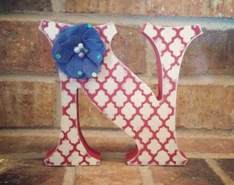 Red White and Blue Wood Letter-Free Standing Letter-Stand Alone Letter-Fourth of July Decor-Home Decor
