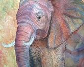 Elephant zentangle inspired fine art print