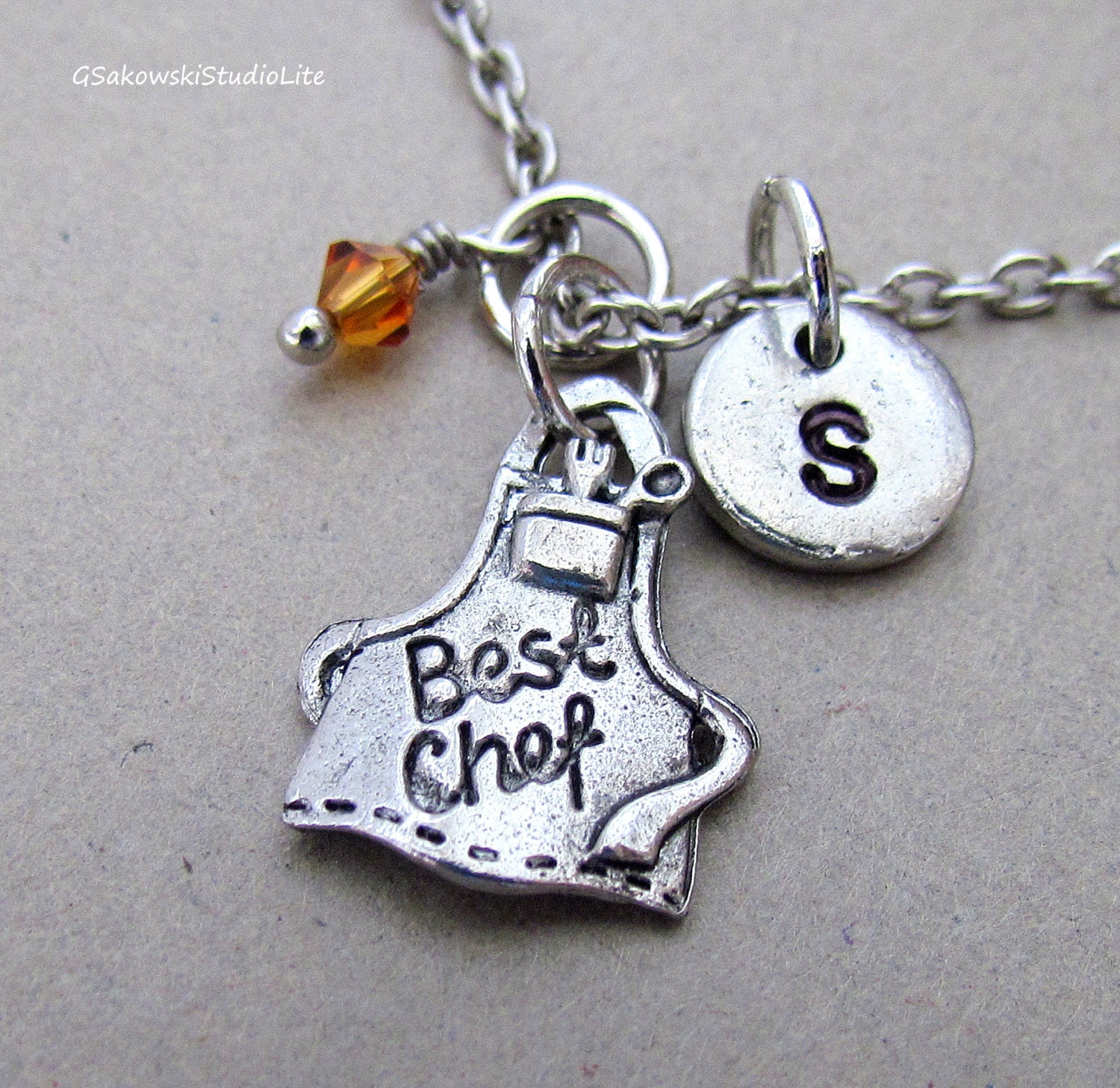 best chef apron charm necklace personalized by