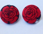 Fabric Button Earrings Red Rose Print