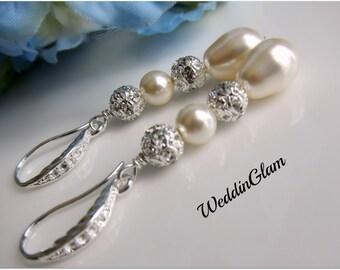 Bridal earrings, Pearl Dangle Earrings, Ivory Pearl Drop Earrings, Swarovski Pearl Jewelry, Bridesmaid earrings, Crystal Wedding Jewelry