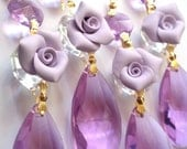 4 Chandelier crystals 38mm Almond Lilac roses chandelier prisms Teardrop Lavender Purple crystal ornaments shabby chic