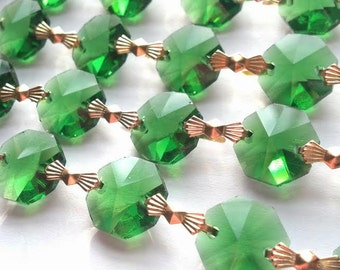1 Yard Dark Green Chandelier Crystal Chains Swags Crystal Prism Yards Shabby Chic Cottage Style