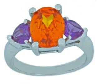 4 Ct Citrine Oval & Amethyst Heart Ring .925 Sterling Silver Rhodium Finish