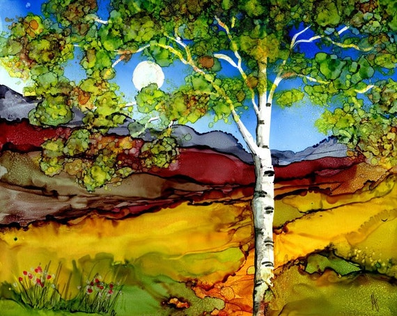 Print Of Original Alcohol Ink Painting Birch Tree
