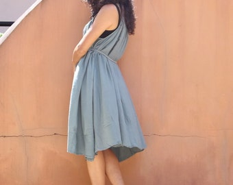 Vacation Time Dress...Sundress....Slip Dress..Color Acqua Blue