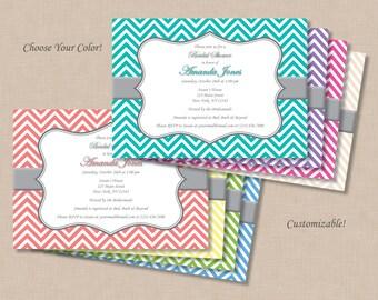Chevron Bridal Shower Invitation - Printable Digital File (Print Your Own) - Choose Your Color