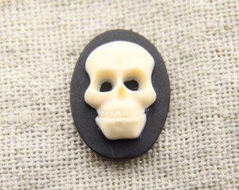 12 pcs of resin skull cameo-13x18mm-RC0168-cream on black