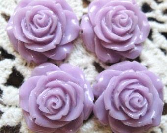 12 pcs of resin flower cabochon-matte purple
