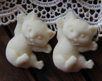 6 pcs of resin  nauty cat cabochon 25x30mm--0099-1-cream