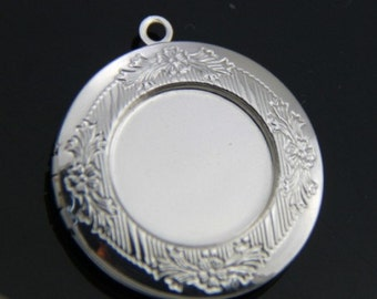 6 pcs of brass locket 32mm for 20mm cameo bl3008-silver