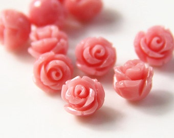 12 pcs of rsin rose bud with hole 8mm-0630-Coral pink