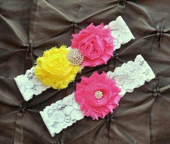 Garter Wedding, Garter Bridal - White Lace Garter, Keepsake Garter, Toss Garter, Shabby Chiffon Rosette Hot Pink Yellow Wedding Garter Set
