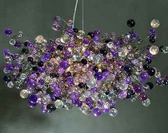 Hanging Chandeliers with purple, gray and clear bubbles lighting for dinning room, living room or bedroom.