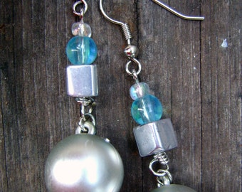 Silver and Powder Blue Dangle Bauble Earrings