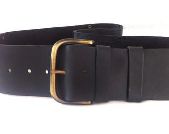 Classic, wide, women's black leather belt. Soft black leather. Bronze buckle & studs. For everyday use. Sit low and high belt. For her.