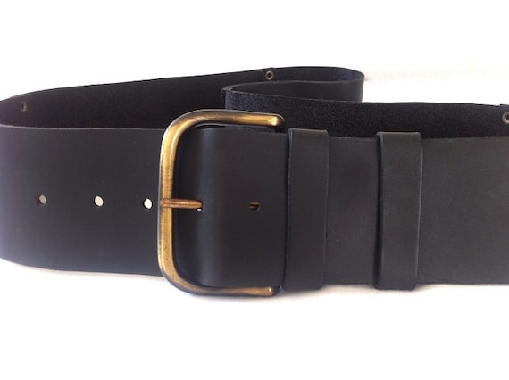 classic wide s black leather belt soft black