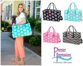 """Monogram Bag, WEEKENDER Bag, Monogrammed Bag with your Initials. Great Travel Bag, 5 Patterns, Bridesmaid Gift.  size: 18.5""""L x 8""""w x 12""""h"""