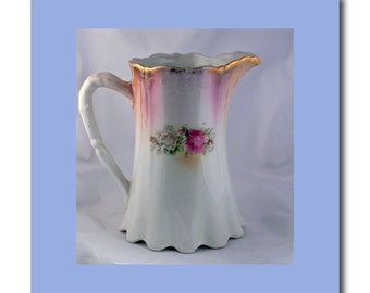 Silesia Porcelain Pitcher Hand Decorated  With Roses & Gold Trim c. 1920
