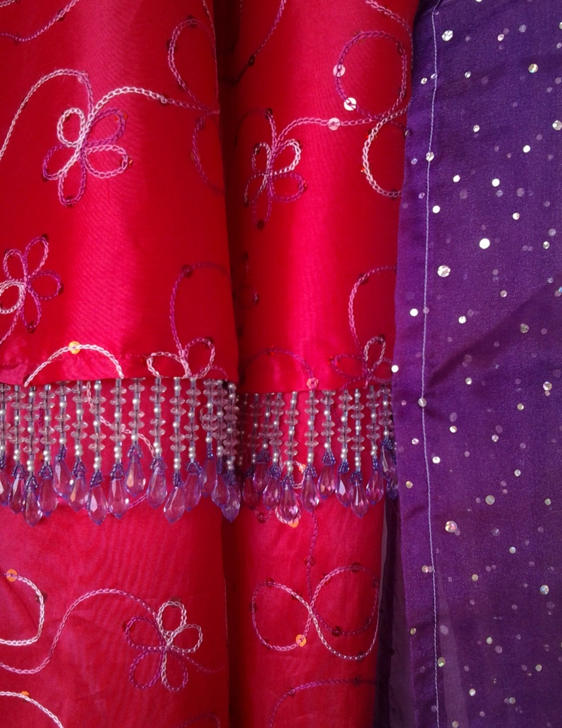 red gypsy sequined curtains with sheer purple valance. Black Bedroom Furniture Sets. Home Design Ideas