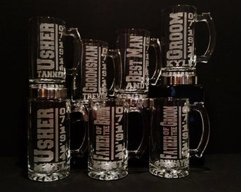 Best Man Mug Set - 7 Personalized Best Man Gifts - Groomsmen Beer Mugs - Sandblasted Mugs - Engraved Mugs, Best Man Gift Idea