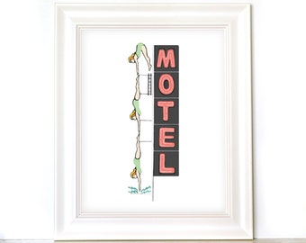 11x14 Diving Girl Print - Mesa Diving Girl - Starlight Motel Diving Lady - Arizona Print - Hand Drawn Art Print