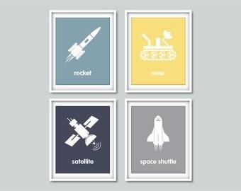 Space Nursery Art prints, Rocket art print, Child Art Prints Kids Room Wall Art Nursery Decor Baby