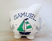Personalized Hand Painted Piggy Bank With Nautical Theme