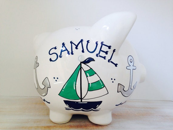 Items similar to personalized hand painted piggy bank with nautical theme on etsy - Nautical piggy bank ...
