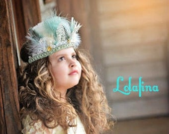 Light Blue Feather Crown...Girl's....Women...Feather Headband