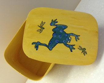 Wood Box with Lid, Decorated with Frog and Dragonflies