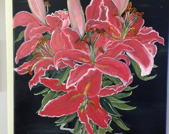 """Oil Painting on Canvas of Oriental Lily - 12"""" x 12"""""""
