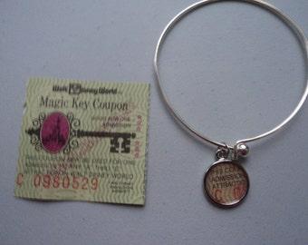 Vintage Disney ticket bangle bracelet Disney World Magic Key Coupon C