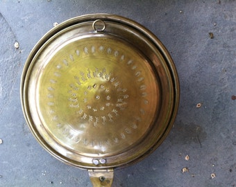 Late 19th Century Engraved Brass Bed Warmer Warming Pan with Handle