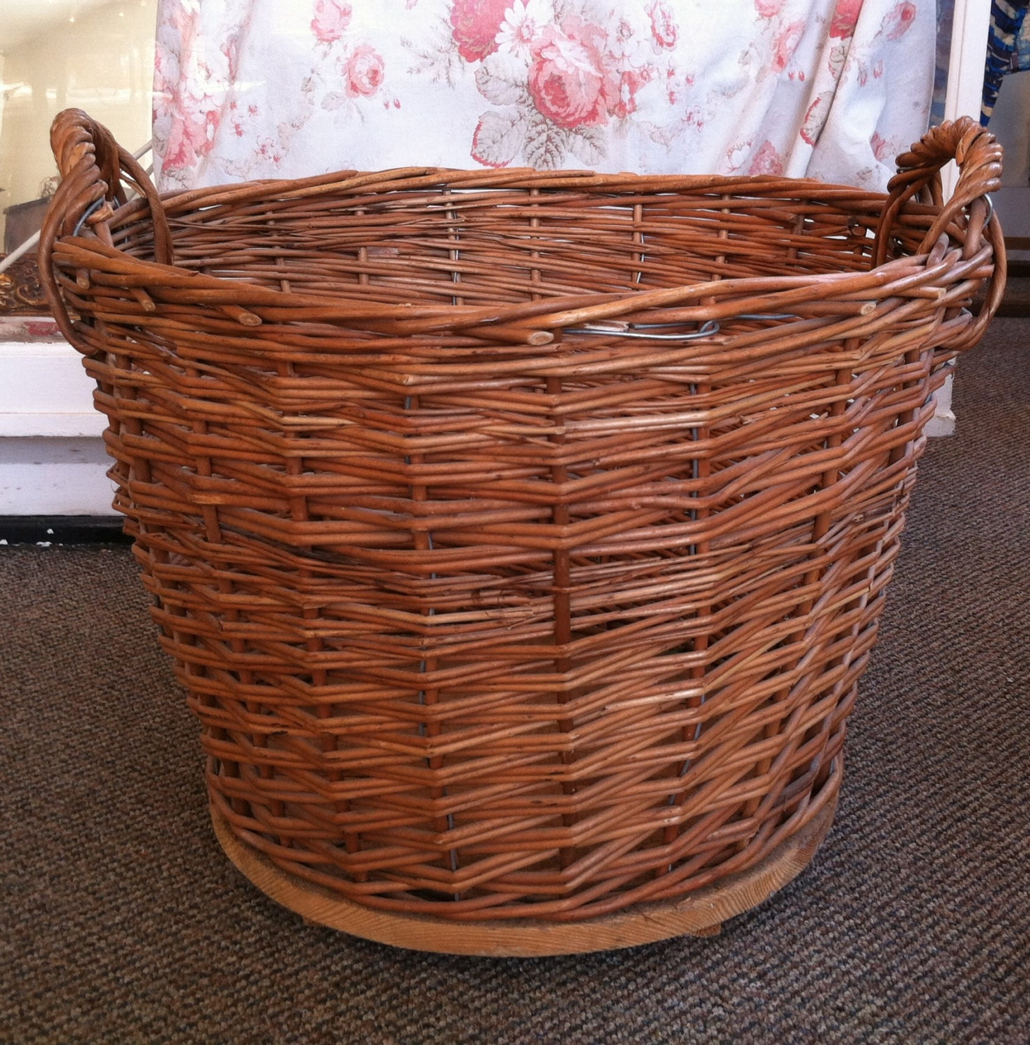 Large Vintage Wicker Laundry Basket Carry All with Reinforced