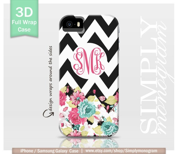 Monogram iPhone 4 Case iPhone 4s Case iPhone 5 Case iPhone 5s Case iPhone 5c Case Samsung Galaxy Case - floral & black chevron monogram case