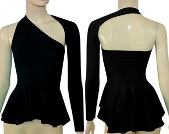 Backless peplum top Black high low blouse One shoulder shirt
