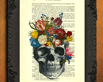skull flower print floral skull illustration skull flowers printed on vintage dictionary paper