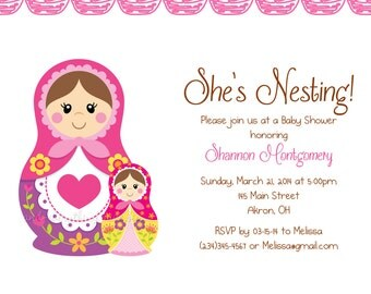Matryoshka Nesting Doll Baby Shower Birthday Invitations | Custom Design | Professionally Printed Card Stock | Boy Girl Twin Sibling Best